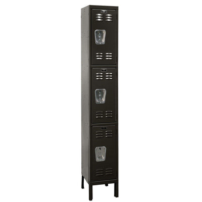 "Hallowell Premium Wardrobe Lockers, Triple-Tier, Unassembled-Lockers-12""-Deep, 1-Wide-12"" x 12"" x 24""-Black"