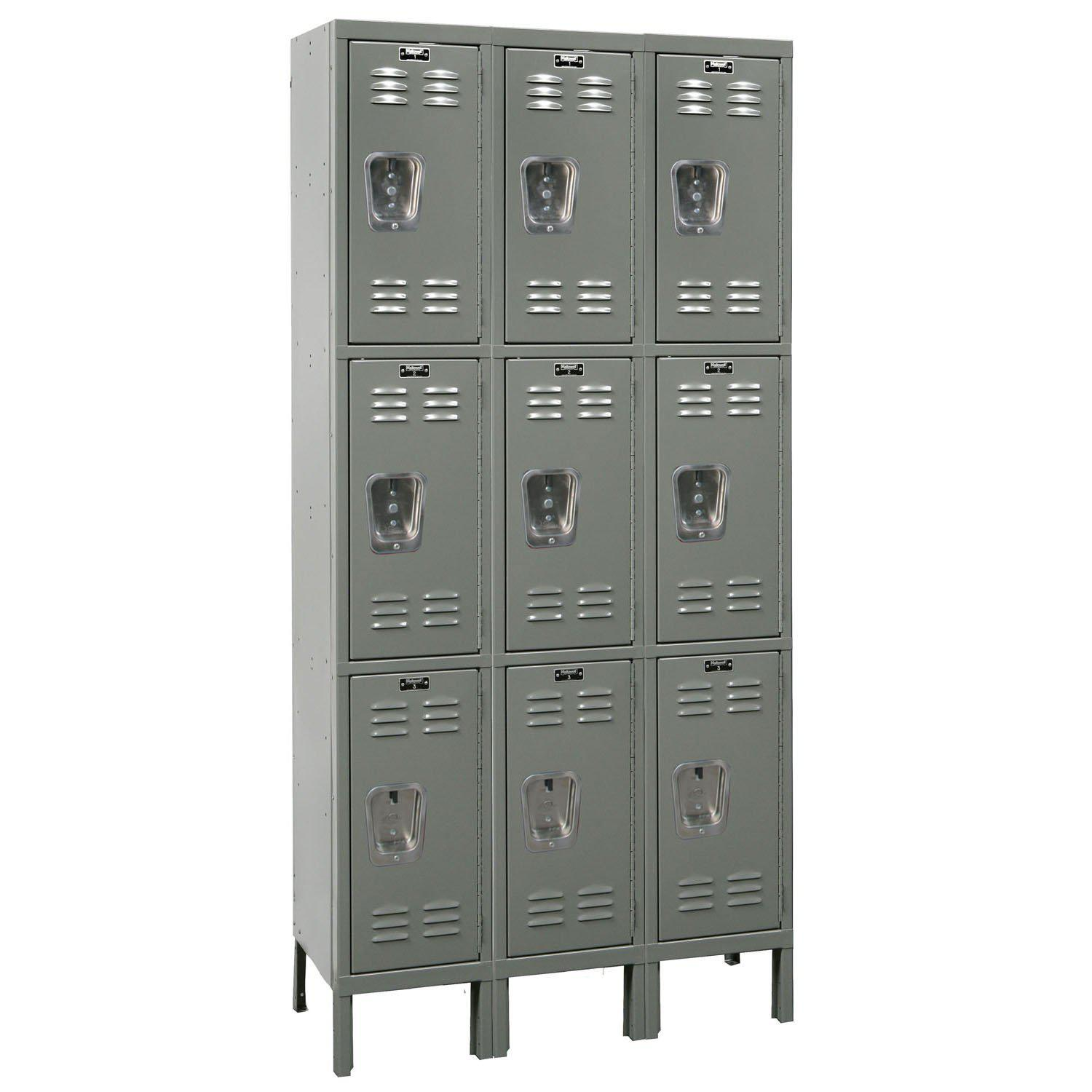 "Hallowell Premium Wardrobe Lockers, Triple-Tier, Unassembled-Lockers-12""-Deep, 3-Wide-12"" x 12"" x 24""-Hallowell Gray"