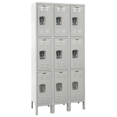 "Hallowell Premium Wardrobe Lockers, Triple-Tier, Unassembled-Lockers-12""-Deep, 3-Wide-12"" x 12"" x 24""-Light Gray"