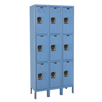 "Hallowell Premium Wardrobe Lockers, Triple-Tier, Unassembled-Lockers-12""-Deep, 3-Wide-12"" x 12"" x 24""-Marine Blue"