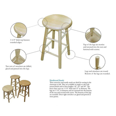 "Solid Wood Stool, 24"" High"