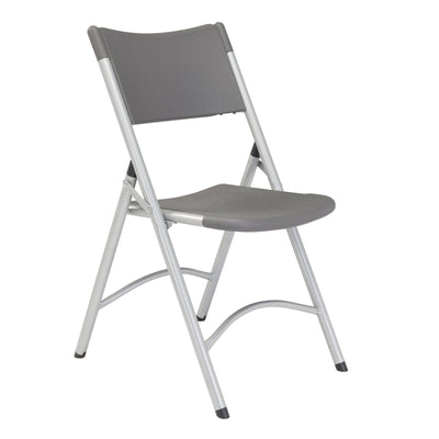 Heavy Duty Plastic Folding Chair (Carton of 4)-Chairs-Charcoal Slate Plastic/Silvertone Frame-