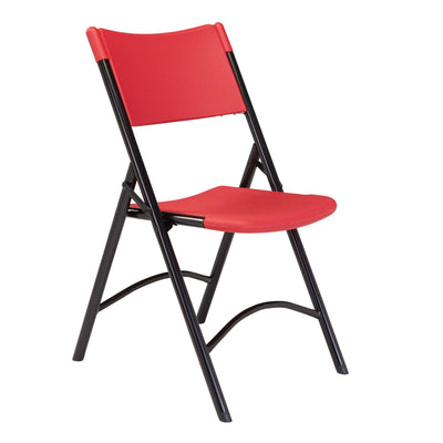 Heavy Duty Plastic Folding Chair (Carton of 4)-Chairs-Red Plastic/Black Frame-
