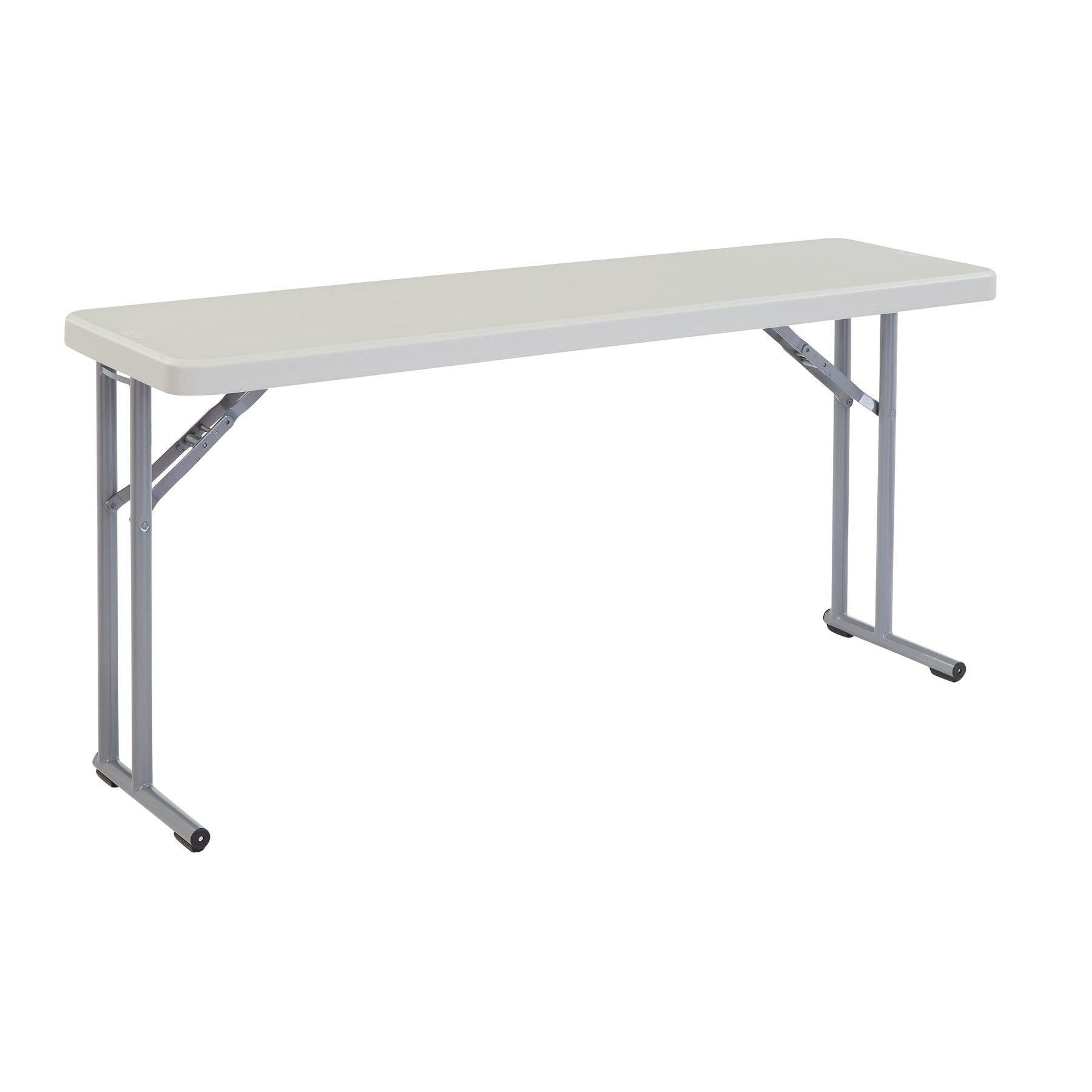 Heavy Duty Blow-Molded Plastic Seminar Folding Table, Speckled Grey