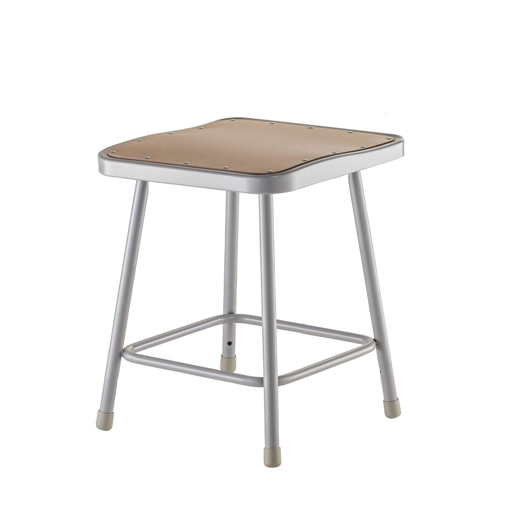 "Heavy Duty Square Seat Steel Stool, Grey-Stools-18""-"