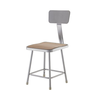 "Heavy Duty Square Seat Steel Stool With Backrest, Grey-Stools-18""-"