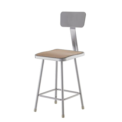 "Heavy Duty Square Seat Steel Stool With Backrest, Grey-Stools-22""-"