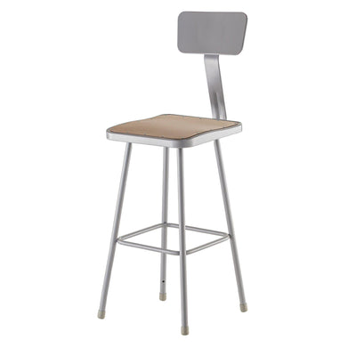 "Heavy Duty Square Seat Steel Stool With Backrest, Grey-Stools-24""-"