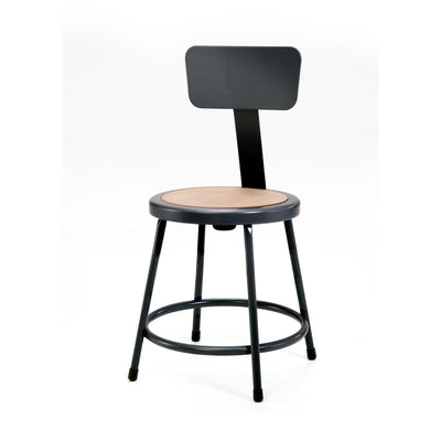 "Heavy Duty Steel Stool With Backrest-Stools-18""-Black-"