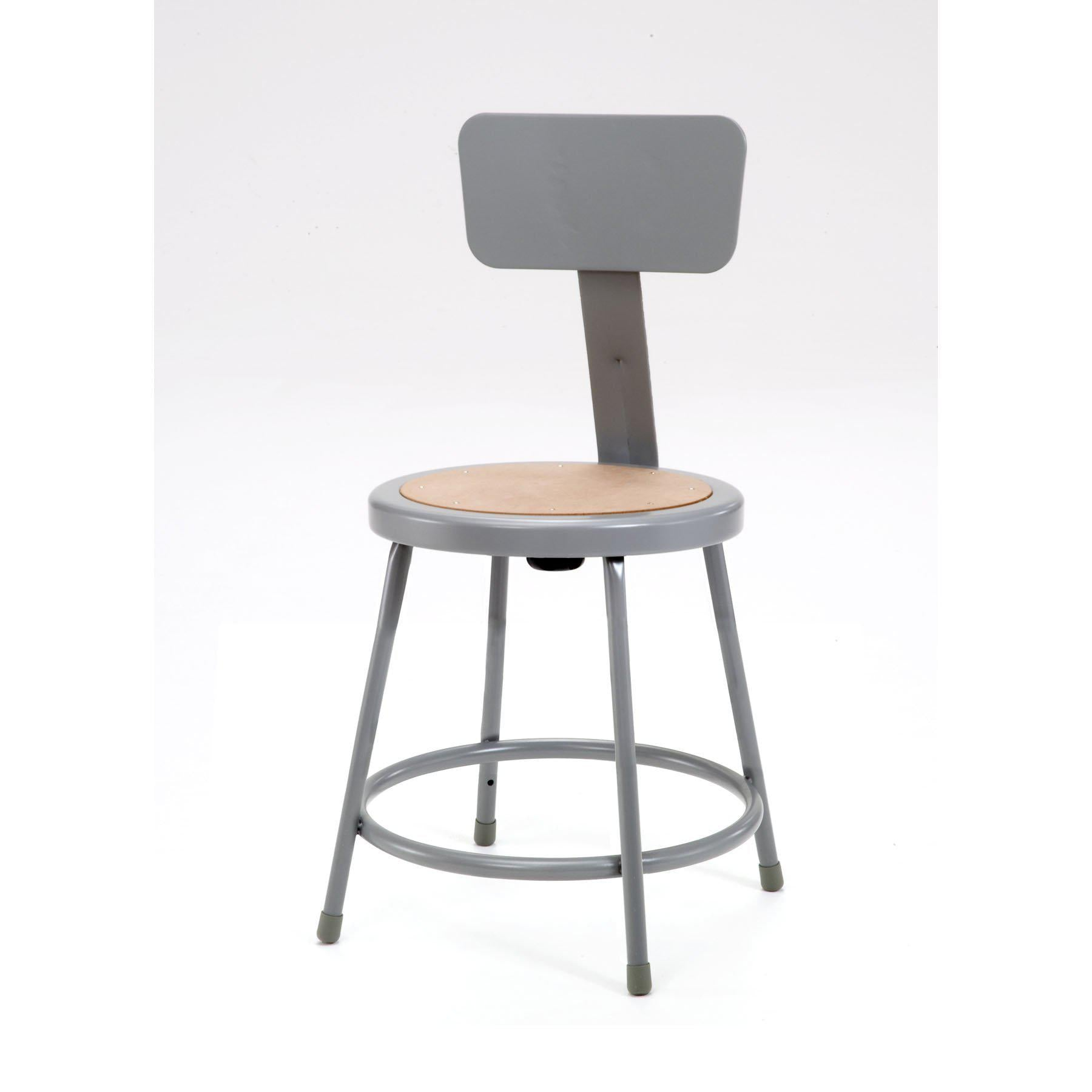 "Heavy Duty Steel Stool With Backrest-Stools-18""-Grey-"