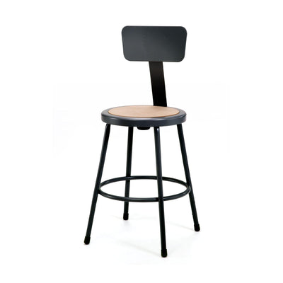 "Heavy Duty Steel Stool With Backrest-Stools-24""-Black-"