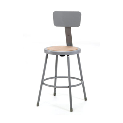 "Heavy Duty Steel Stool With Backrest-Stools-24""-Grey-"