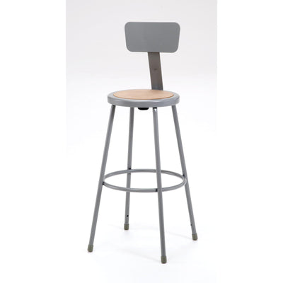 "Heavy Duty Steel Stool With Backrest-Stools-30""-Black-"