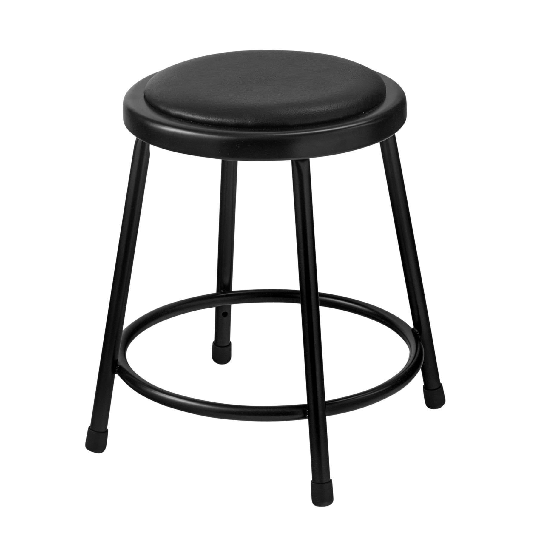 "Heavy Duty Vinyl Padded Steel Stool, Black-Stools-18""-"