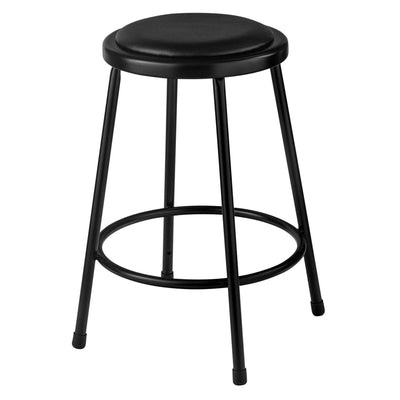 "Heavy Duty Vinyl Padded Steel Stool, Black-Stools-24""-"