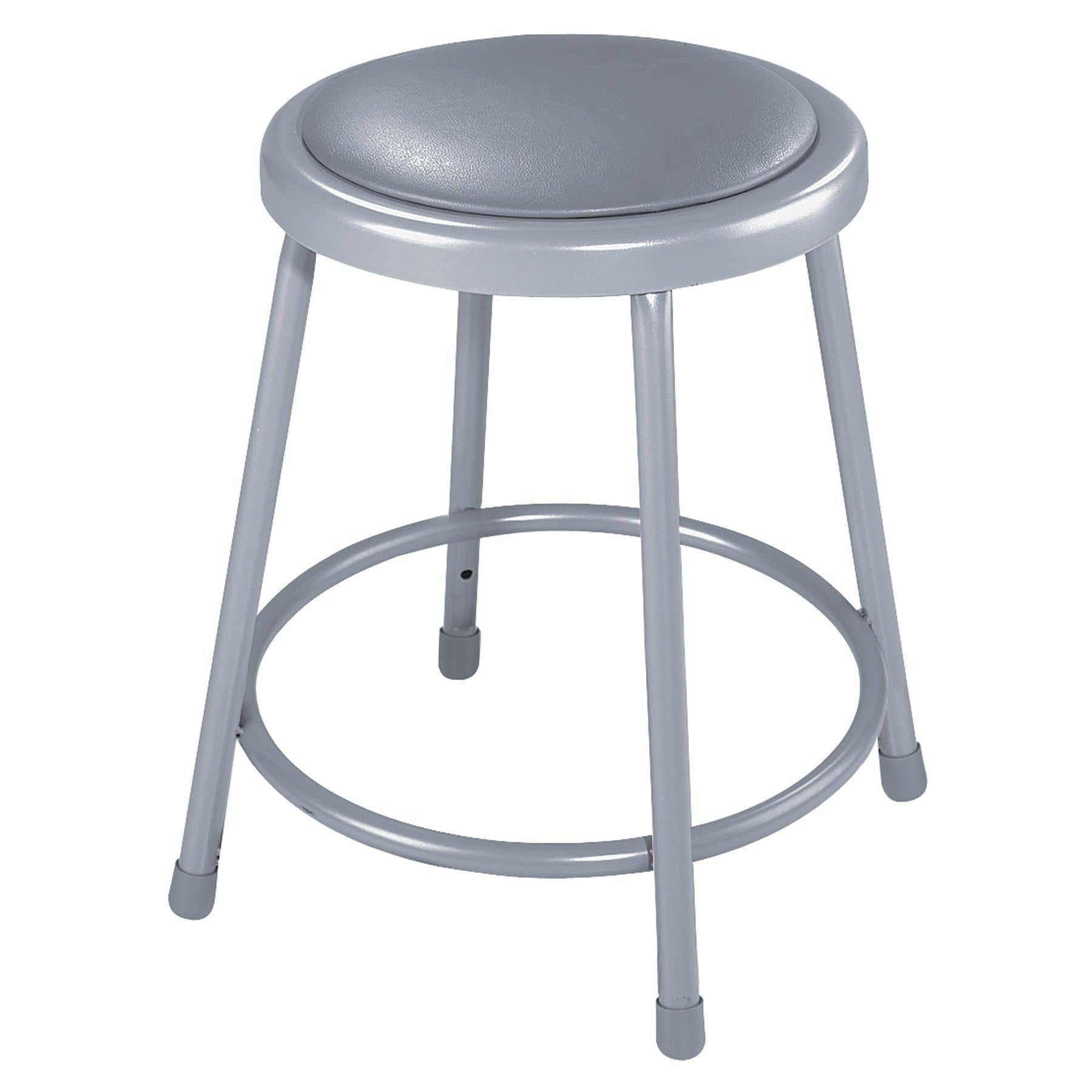 "Heavy Duty Vinyl Padded Steel Stool, Grey-Stools-18""-"
