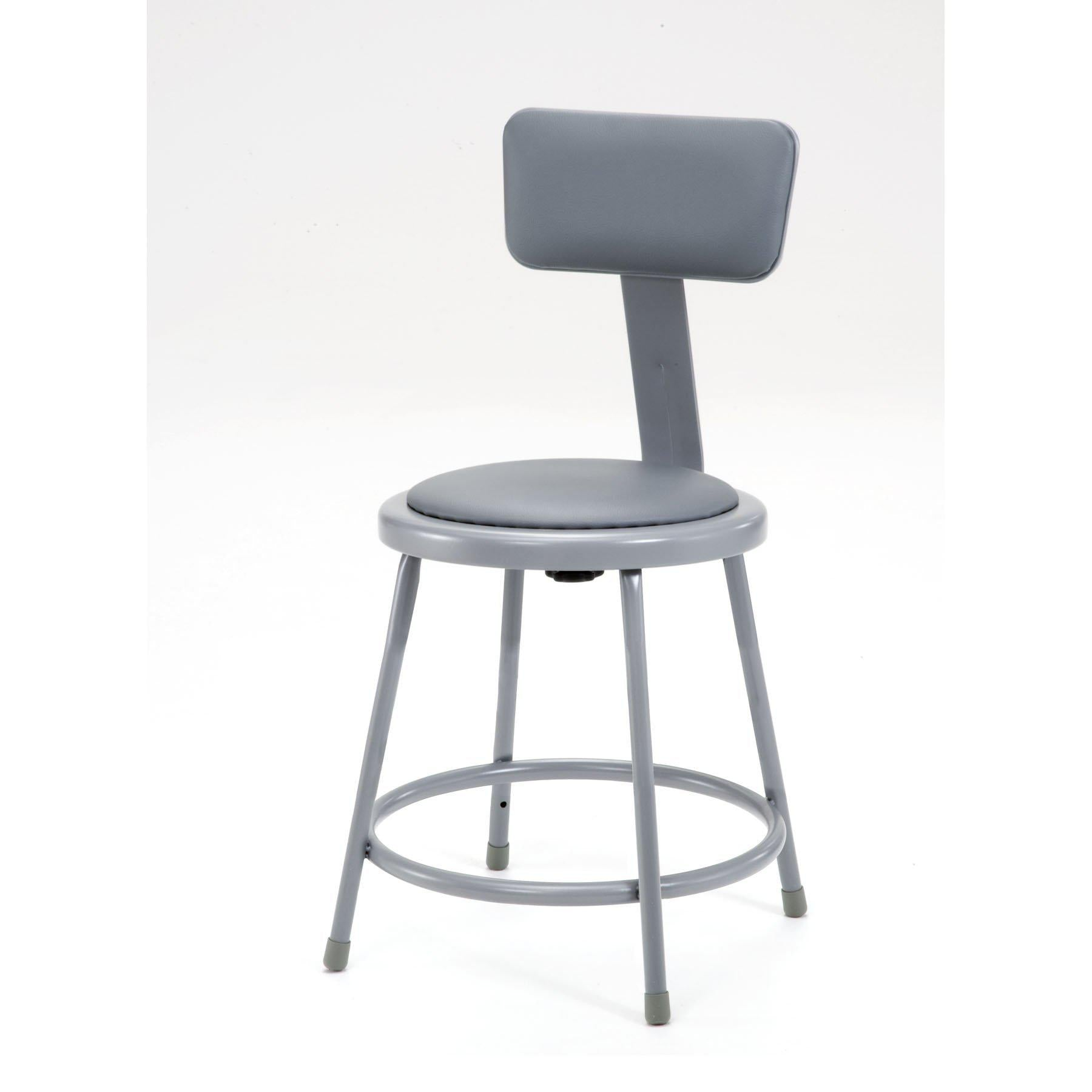 "Heavy Duty Vinyl Padded Steel Stool With Backrest-Stools-Grey-18""-"