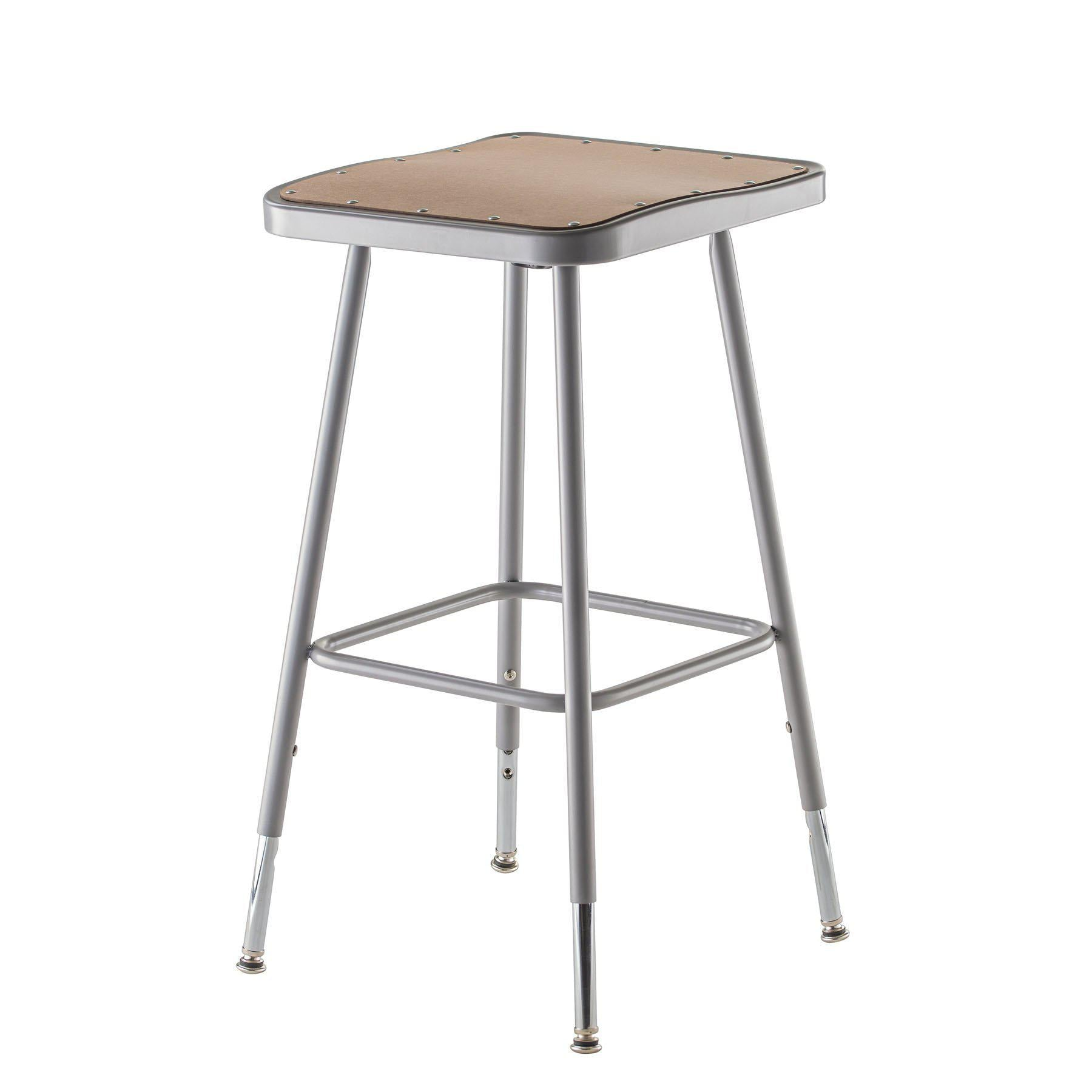 "Height Adjustable Heavy Duty Square Seat Steel Stool, Grey-Stools-25"" - 33""-"