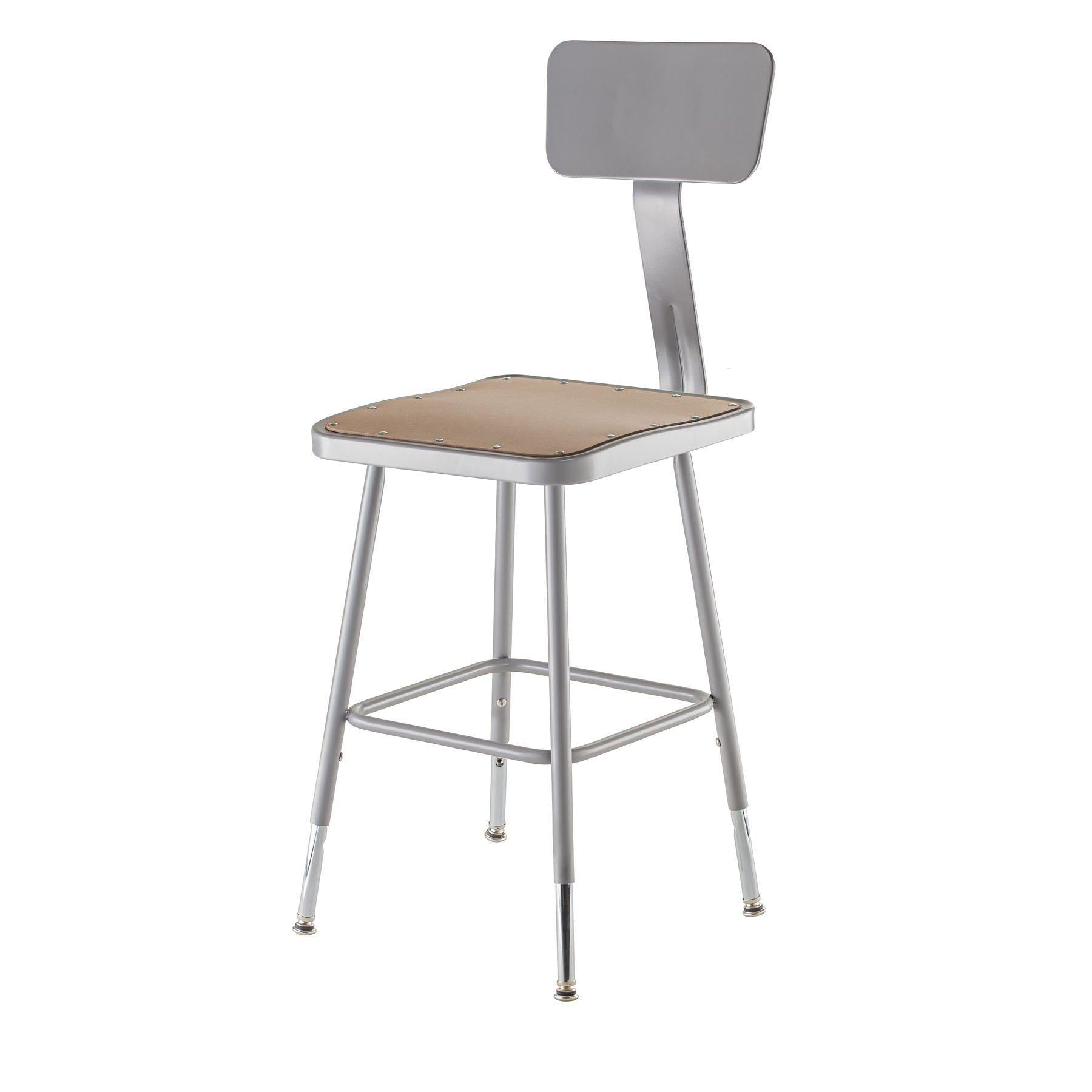 "Height Adjustable Heavy Duty Square Seat Steel Stool With Backrest, Grey-Stools-19"" - 27""-"