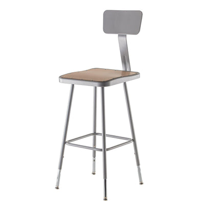"Height Adjustable Heavy Duty Square Seat Steel Stool With Backrest, Grey-Stools-25"" - 33""-"