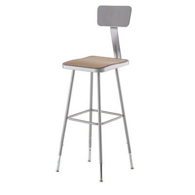 "Height Adjustable Heavy Duty Square Seat Steel Stool With Backrest, Grey-Stools-32"" - 39""-"