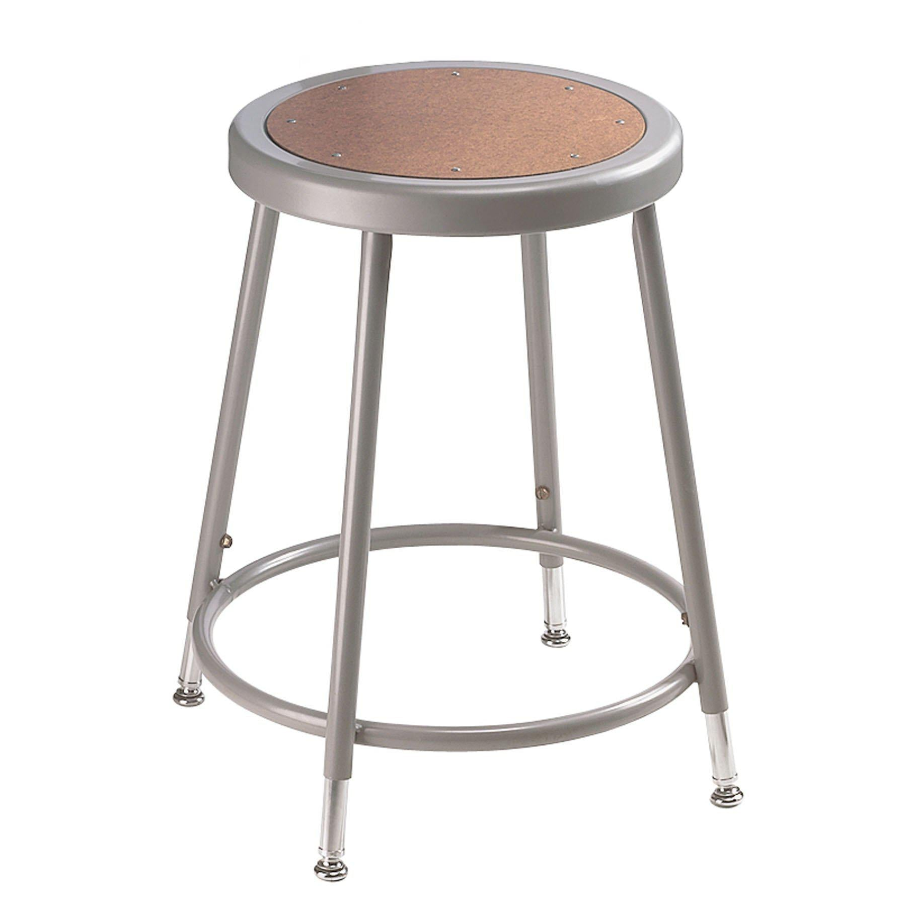 "Height Adjustable Heavy Duty Steel Stool-Stools-Grey-19"" - 27""-"