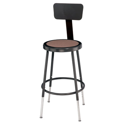 "Height Adjustable Heavy Duty Steel Stool With Backrest-Stools-Black-19"" - 27""-"