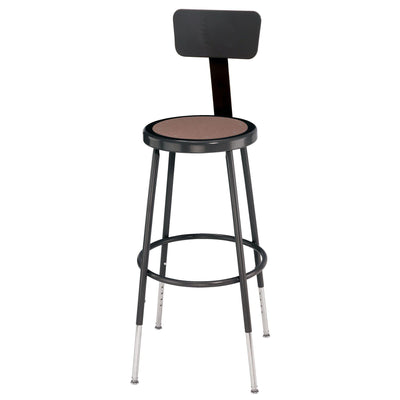 "Height Adjustable Heavy Duty Steel Stool With Backrest-Stools-Black-25"" - 33""-"