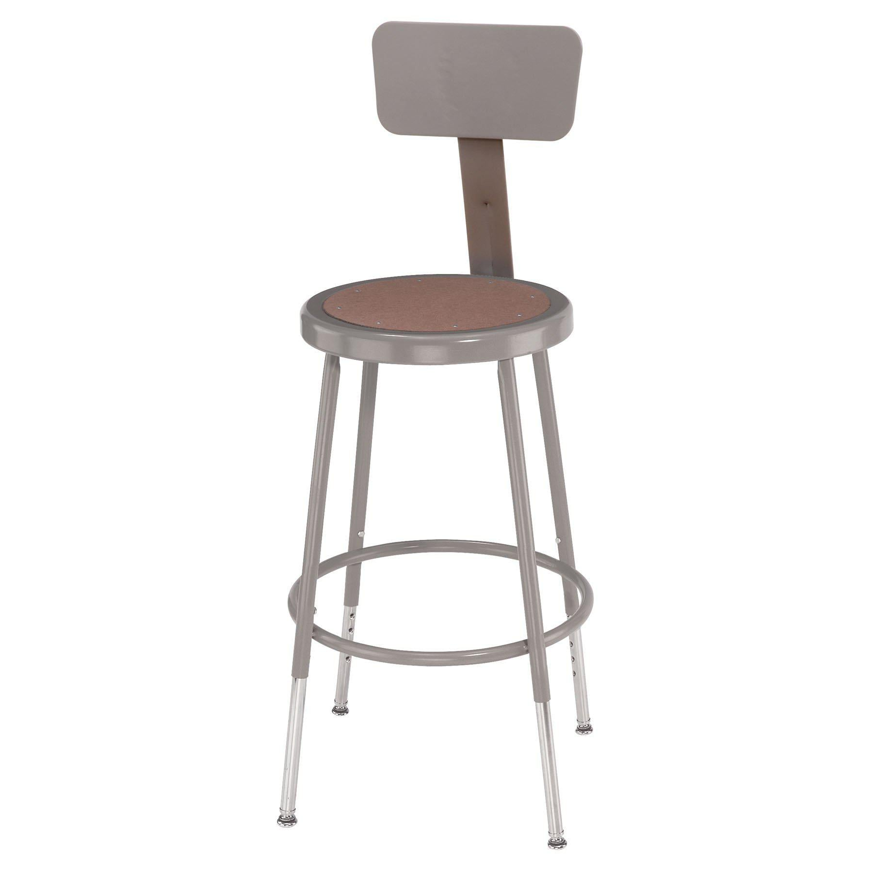 "Height Adjustable Heavy Duty Steel Stool With Backrest-Stools-Grey-19"" - 27""-"