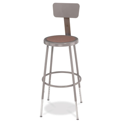 "Height Adjustable Heavy Duty Steel Stool With Backrest-Stools-Grey-25"" - 33""-"