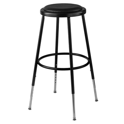 "Height Adjustable Heavy Duty Vinyl Padded Steel Stool-Stools-Black-25"" - 33""-"