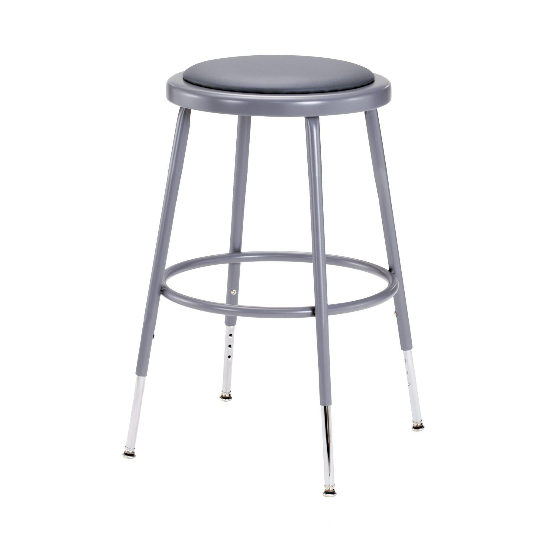 "Height Adjustable Heavy Duty Vinyl Padded Steel Stool-Stools-Grey-19"" - 27""-"