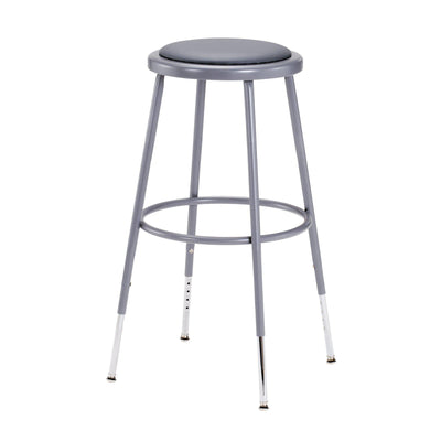 "Height Adjustable Heavy Duty Vinyl Padded Steel Stool-Stools-Grey-25"" - 33""-"
