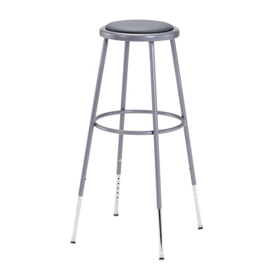 "Height Adjustable Heavy Duty Vinyl Padded Steel Stool-Stools-Grey-32"" - 39""-"