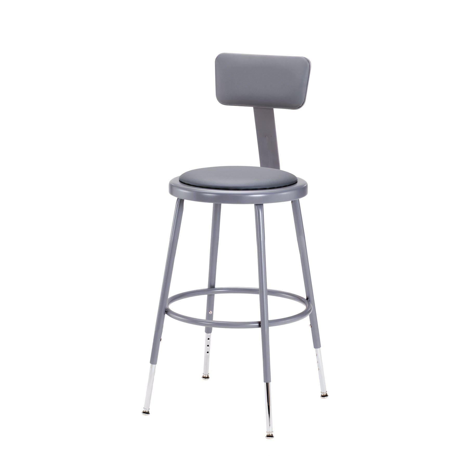 "Height Adjustable Heavy Duty Vinyl Padded Steel Stool With Backrest-Stools-Grey-19"" - 27""-"