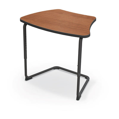 Hierarchy Adjustable Cantilever Desk-Desks-Curve Top-Amber Cherry-Black