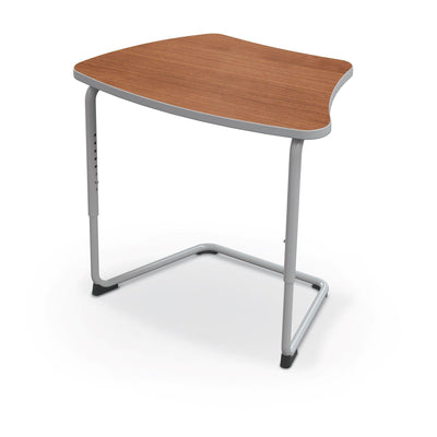 Hierarchy Adjustable Cantilever Desk-Desks-Curve Top-Amber Cherry-Platinum