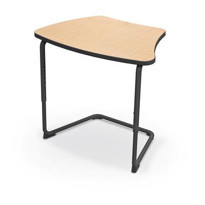 Hierarchy Adjustable Cantilever Desk-Desks-Curve Top-Fusion Maple-Black