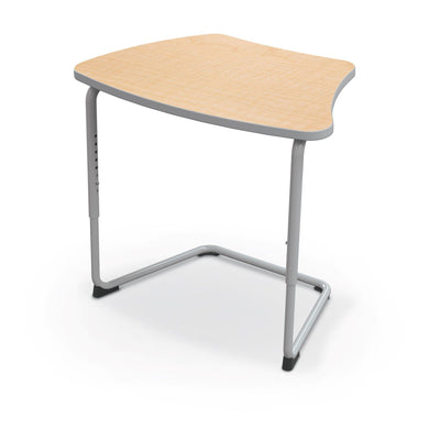 Hierarchy Adjustable Cantilever Desk-Desks-Curve Top-Fusion Maple-Platinum