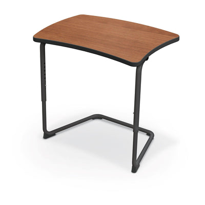 Hierarchy Adjustable Cantilever Desk-Desks-Straight Top-Amber Cherry-Black