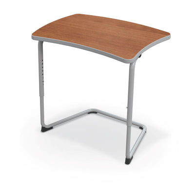 Hierarchy Adjustable Cantilever Desk-Desks-Straight Top-Amber Cherry-Platinum