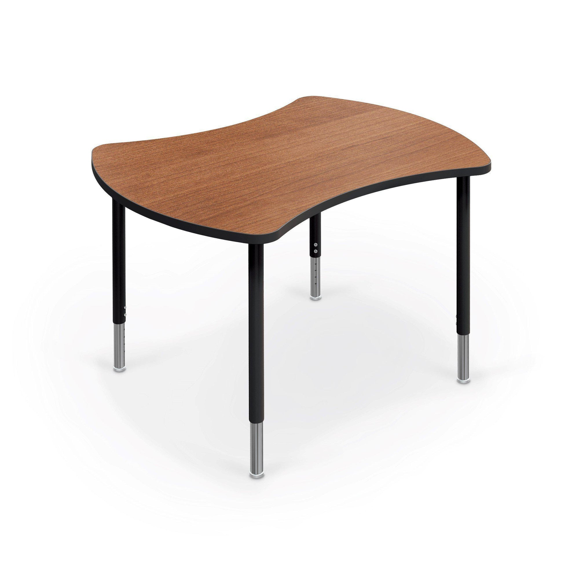 Hierarchy Quad Desk and Table-Desks-Small-Amber Cherry with Black Edgeband-Black