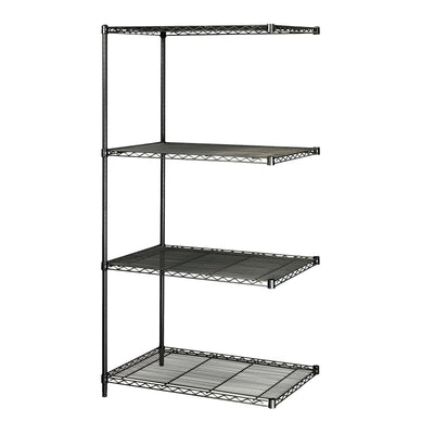 "Industrial Wire Shelving Add-On Unit, 24 x 36""-Storage Cabinets & Shelving-Black-"