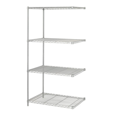 "Industrial Wire Shelving Add-On Unit, 24 x 36""-Storage Cabinets & Shelving-Metallic Gray-"