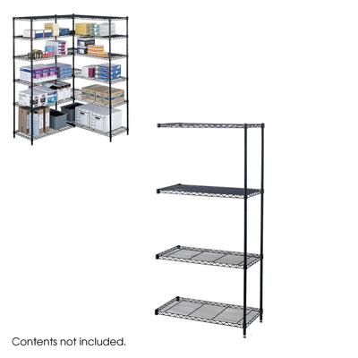 "Industrial Wire Shelving Add-On Unit, 36 x 18""-Storage Cabinets & Shelving-Black-"