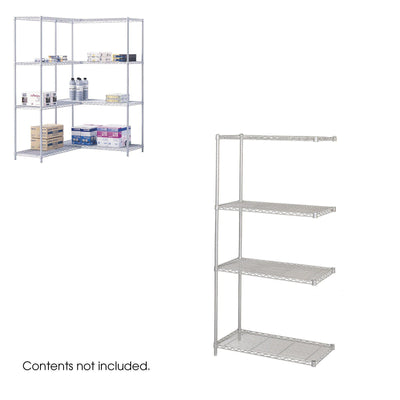 "Industrial Wire Shelving Add-On Unit, 36 x 18""-Storage Cabinets & Shelving-Metallic Gray-"