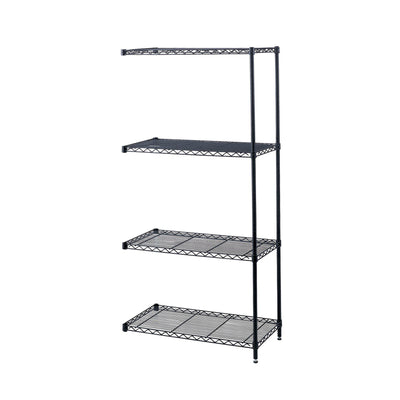 "Industrial Wire Shelving Add-On Unit, 48 x 18""-Storage Cabinets & Shelving-Black-"