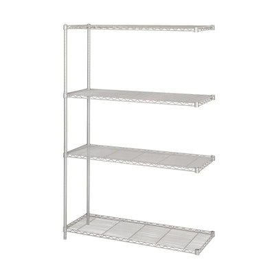 "Industrial Wire Shelving Add-On Unit, 48 x 18""-Storage Cabinets & Shelving-Metallic Gray-"