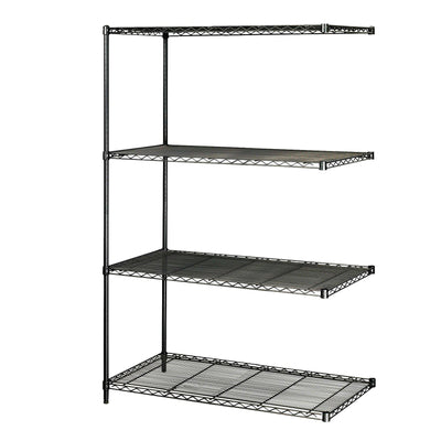 "Industrial Wire Shelving Add-On Unit, 48 x 24""-Storage Cabinets & Shelving-Black-"