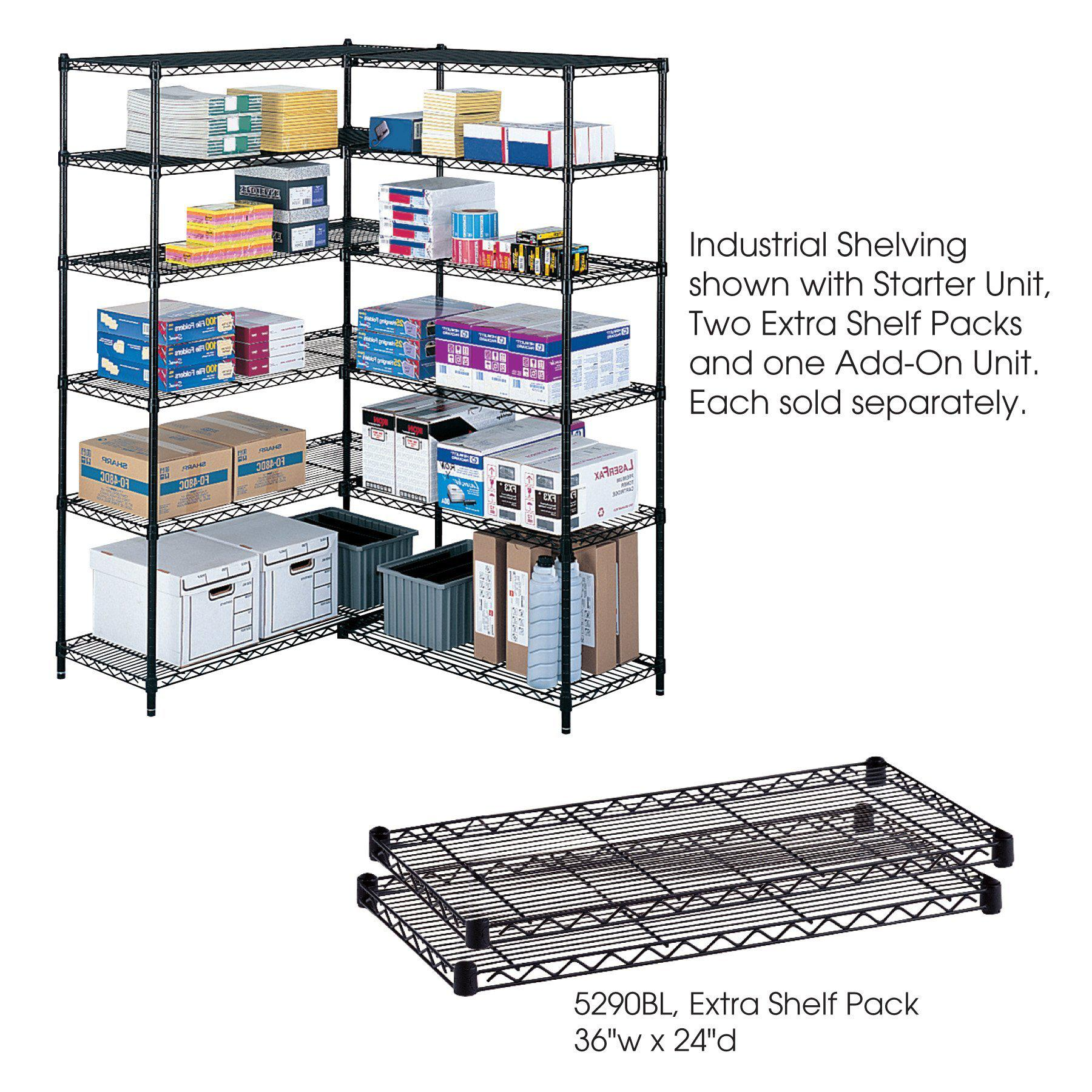 "Industrial Extra Shelf Pack, 24 x 36"", Black, Pack of 2"